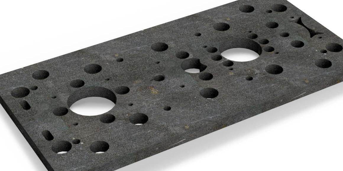 Een persplaat om gatentabellen en automatische centerlijnen in Inventor te testen.