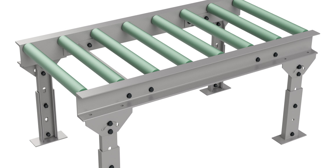 Een sterke transportband met rollen om zware producten te vervoeren.