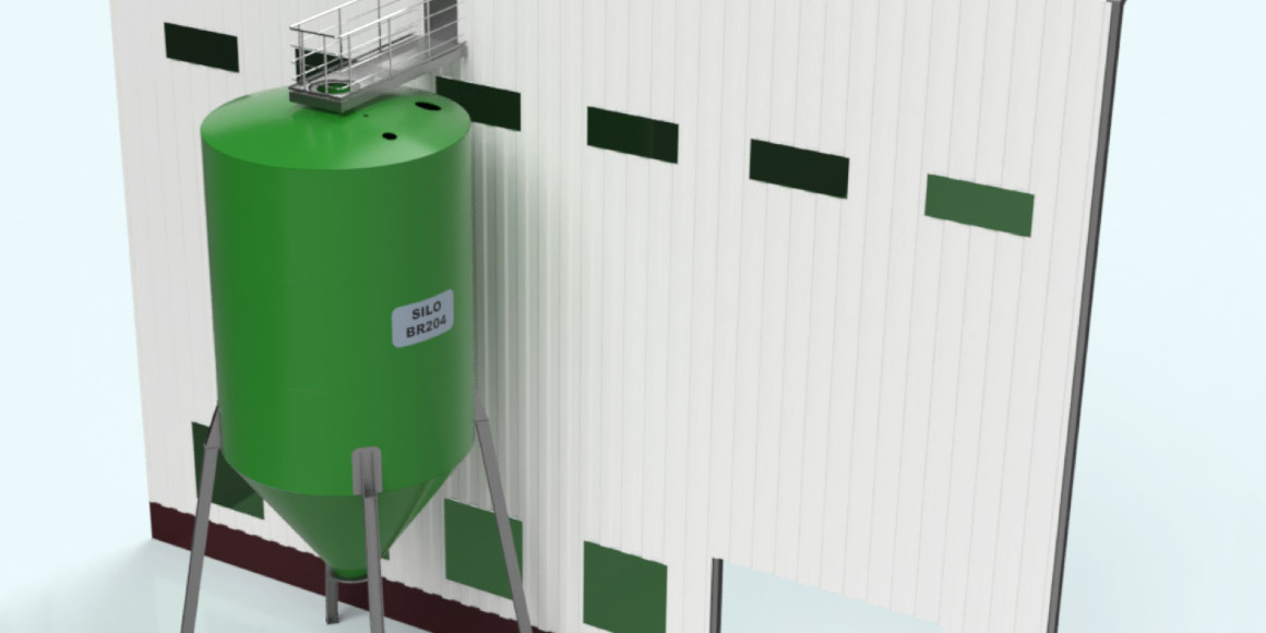 Een Silo naast een bedrijfshal, gemaakt voor opslag van vloeistoffen.